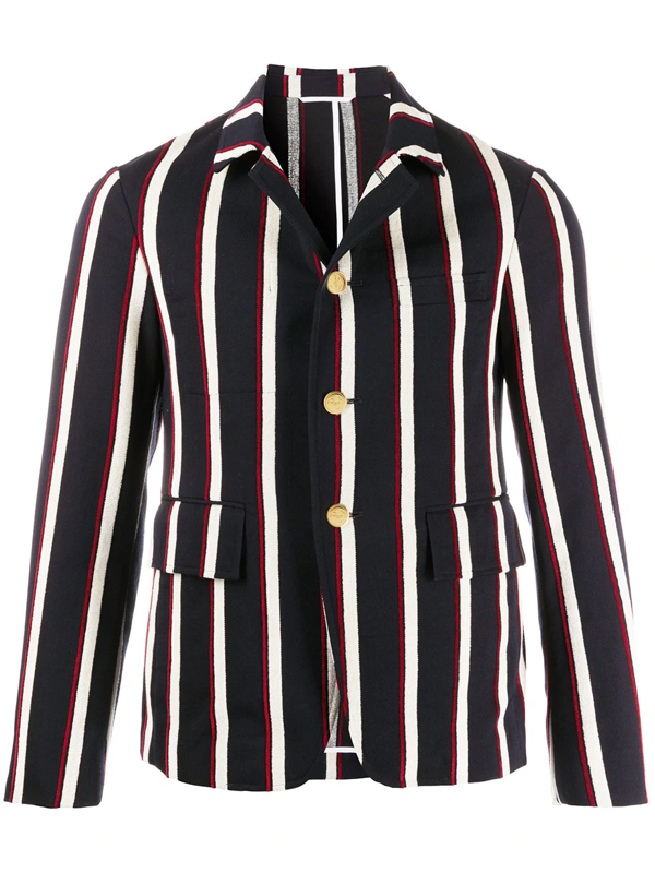 Thom Browne Button-up Jacket In Blue