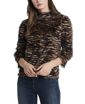 Vince Camuto Women's Zebra Print Eyelash Knit Top In Falcon