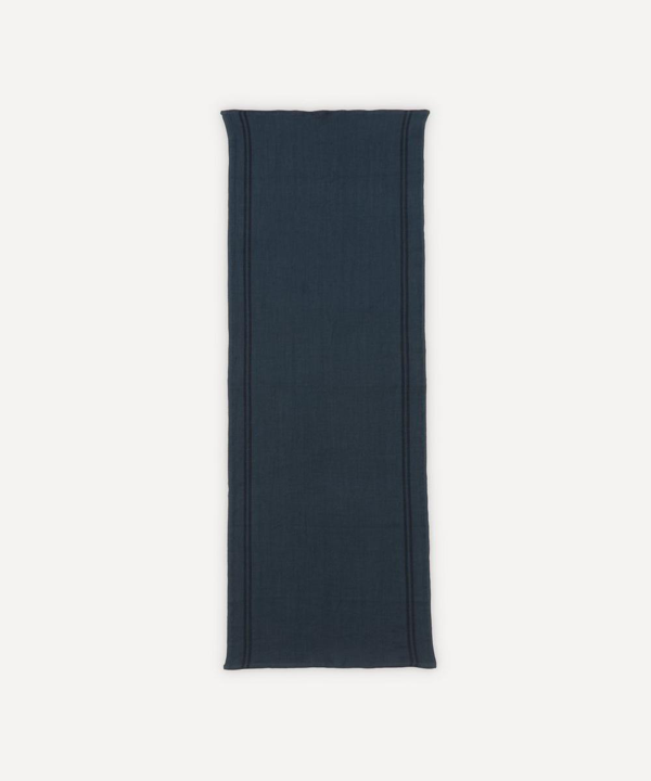Charvet Editions Country Petrole Linen Table Runner In Black
