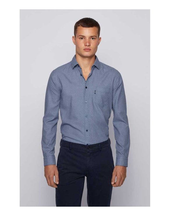 Hugo Boss Mypop 3 Dobby Jaquard Slim Fit Shirt Colour: Blue