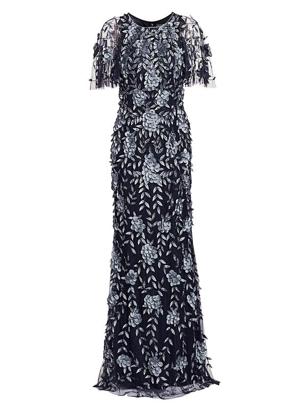 Theia Women's Petal Applique Gown In Blue Stone