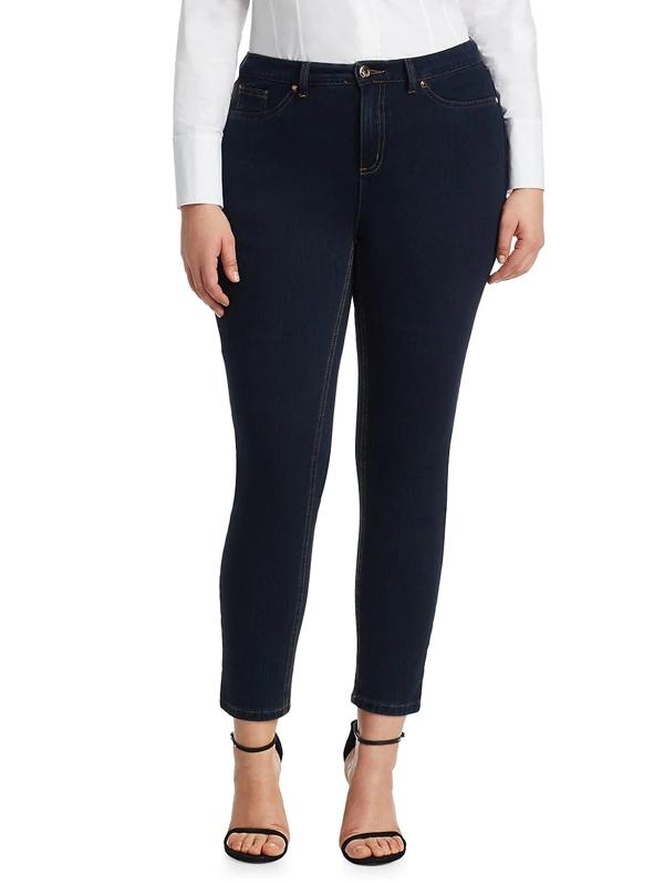 Ashley Graham X Marina Rinaldi Women's Idillio Jersey Denim Slim Jeans In Dark Navy