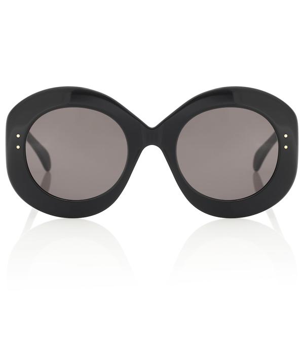 Alaïa Oversized Round Acetate Sunglasses In Black