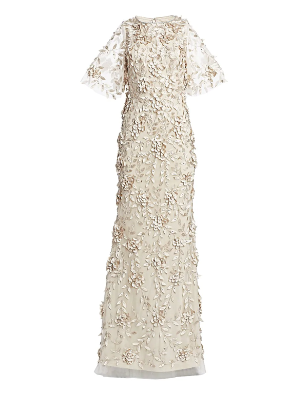 Theia Women's Embellished Flutter-sleeve Tulle Gown In Sandstone