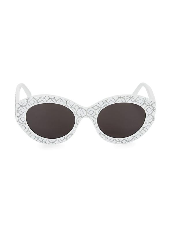 Alaïa 52mm Oval Studded Sunglasses In White