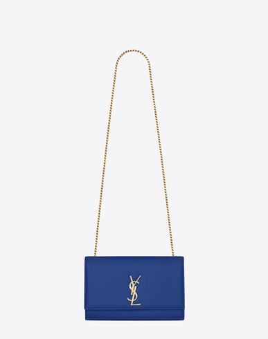 Saint Laurent Medium Kate Chain Bag In Royal Blue Textured Leather