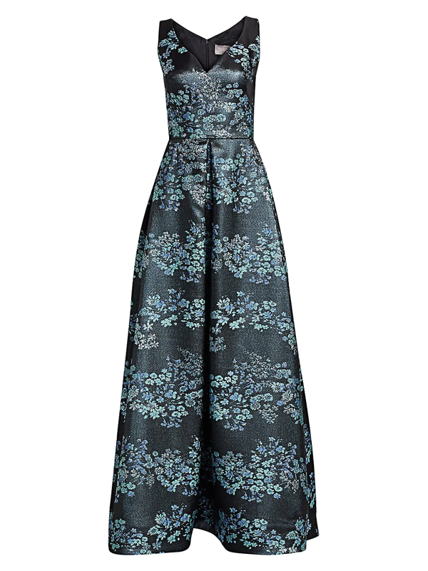 Theia Women's Floral Jacquard Ball Gown In Sea
