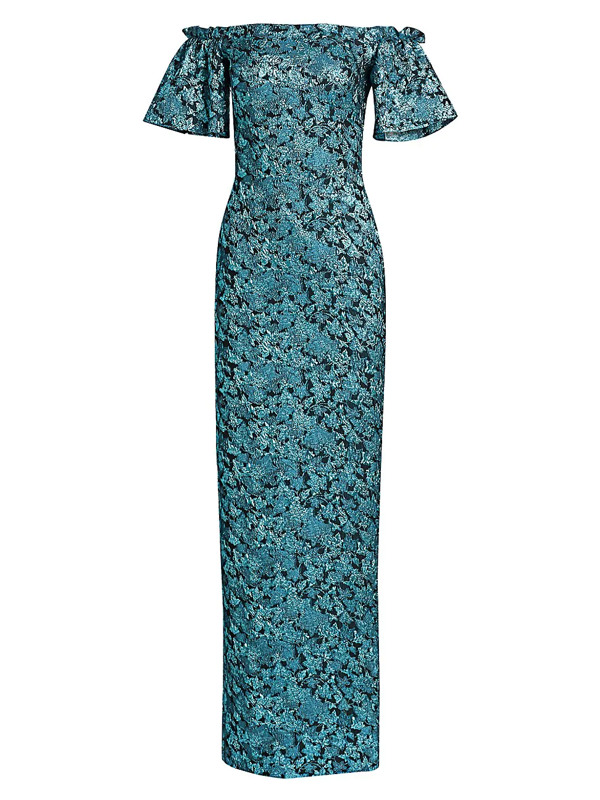 Theia Women's Floral Jacquard Off-shoulder Gown In Azure