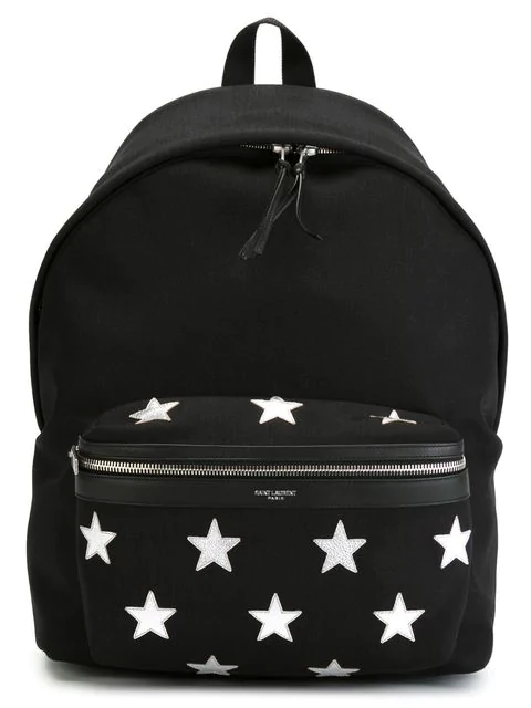 Saint Laurent California City Backpack In Nylon And Metallic Leather In Black