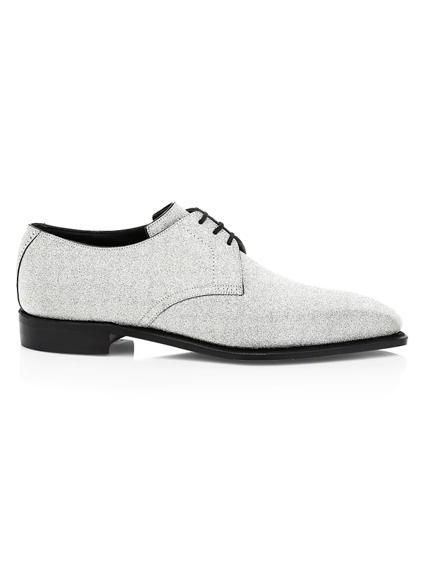 Corthay Sergio Three Eyelet Glitter Formal Lace-up Brogue Shoes In Silver Glitter