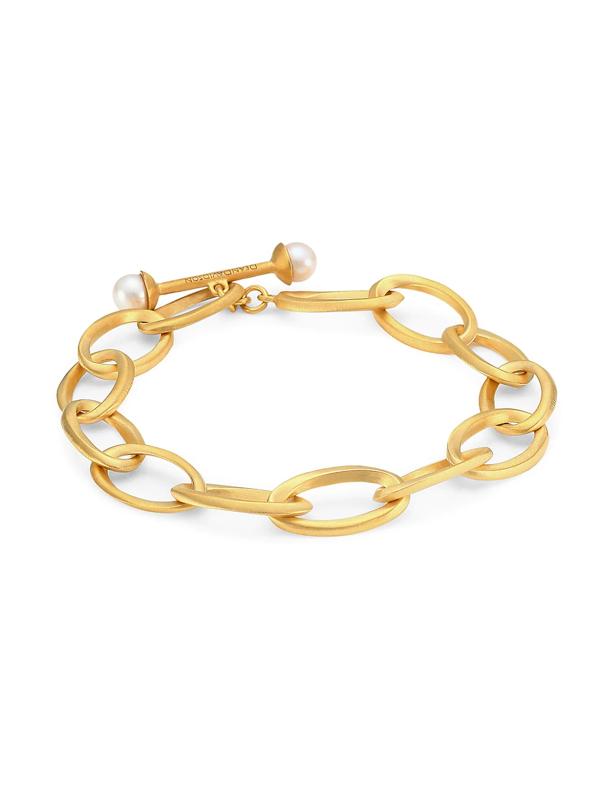 Dean Davidson Women's Origami 22k Yellow Goldplated & 6mm Freshwater Pearl Infinity Bracelet