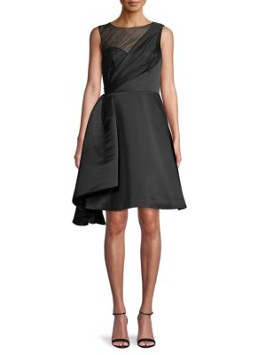 Theia Women's Faille Fit-&-flare Cocktail Dress In Black