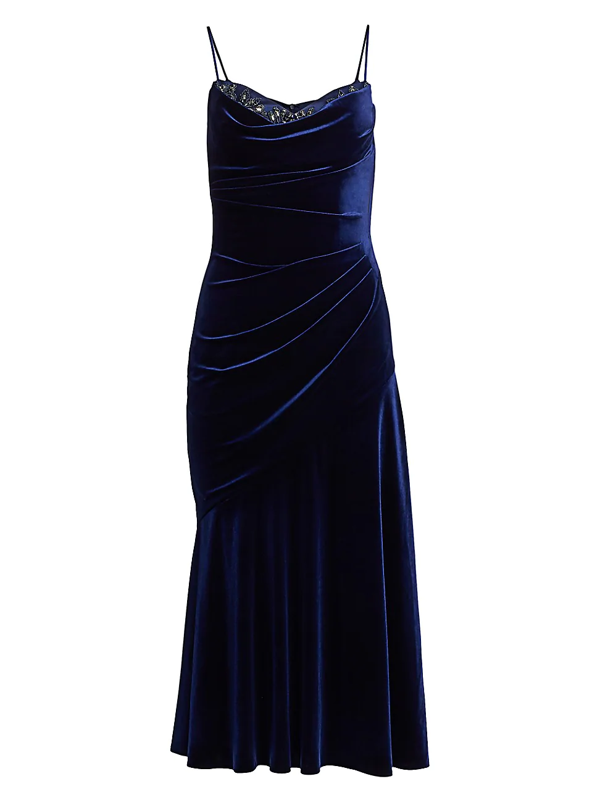 Theia Women's Ruched Velvet Cocktail Dress In Sapphire