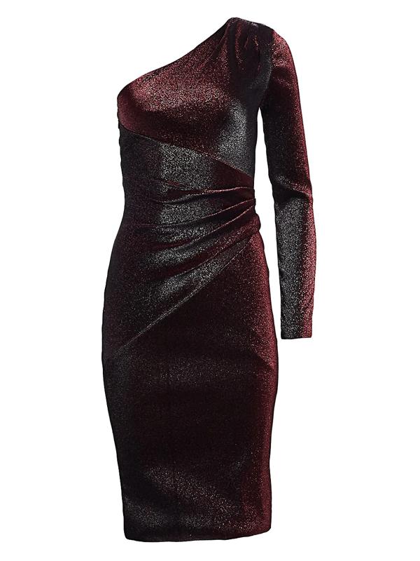 Theia Women's One-shoulder Metallic Cocktail Dress In Garnet