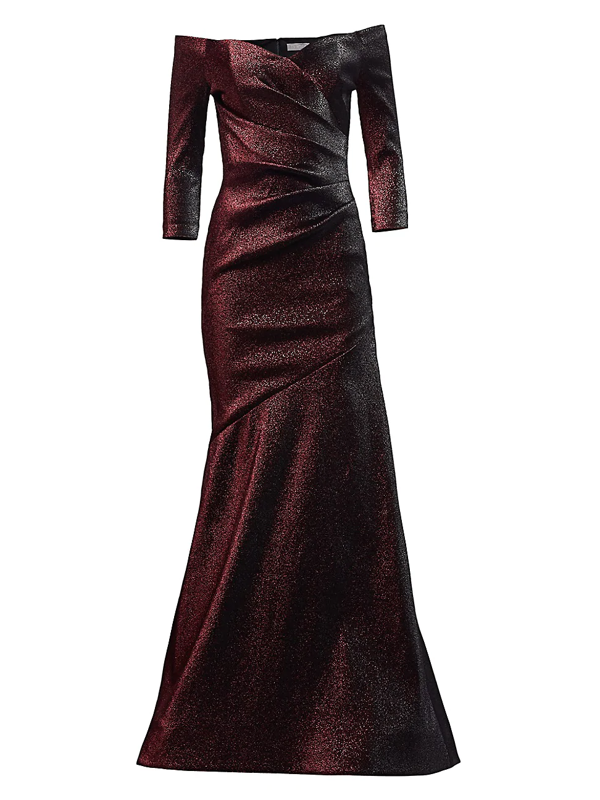 Theia Women's Off-the-shoulder Ruched Metallic Gown In Garnet