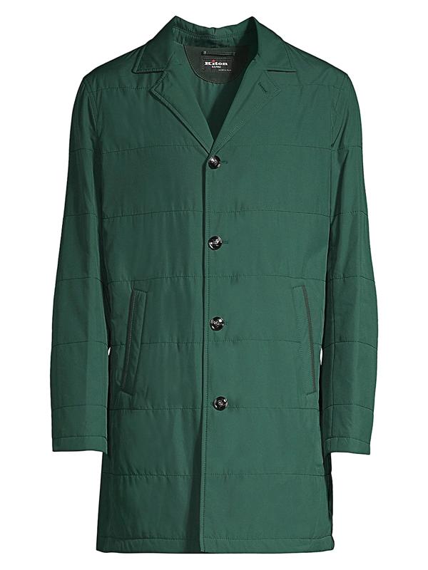 Kiton Men's Packable Rain Coat In Green