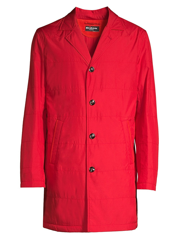 Kiton Men's Packable Rain Coat In Red