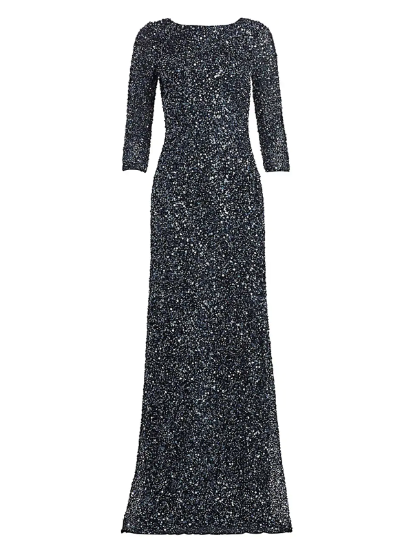 Theia Women's Crunchy Sequin Boatneck Gown In Slate