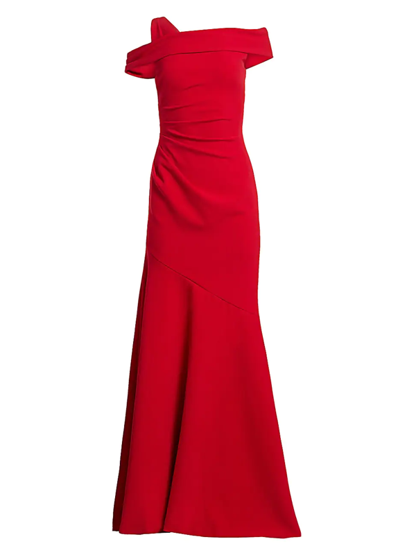 Theia Women's One-shoulder Ruched Crepe Gown In Red