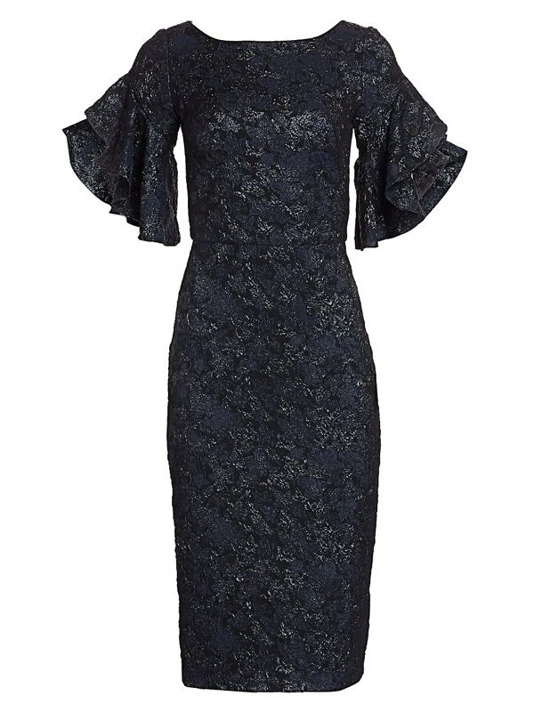 Theia Women's Ruffle-sleeve Cloqué Cocktail Dress In Midnight