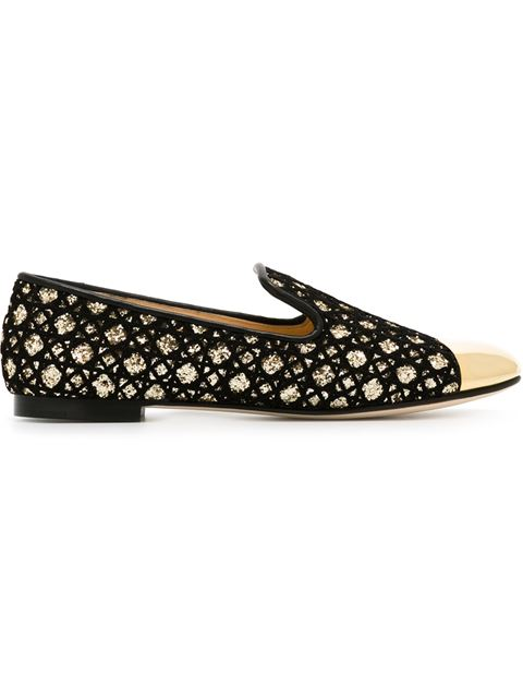 Giuseppe Zanotti Glitter Slippers In Black
