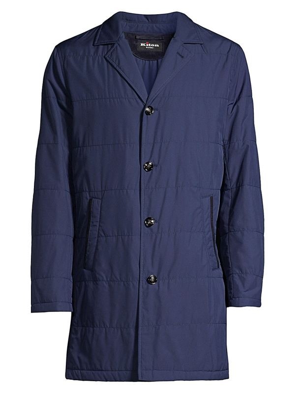 Kiton Men's Packable Quilted Raincoat In Navy