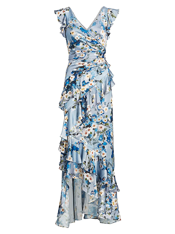 Theia Women's Printed V-neck Ruffle Gown In Blue