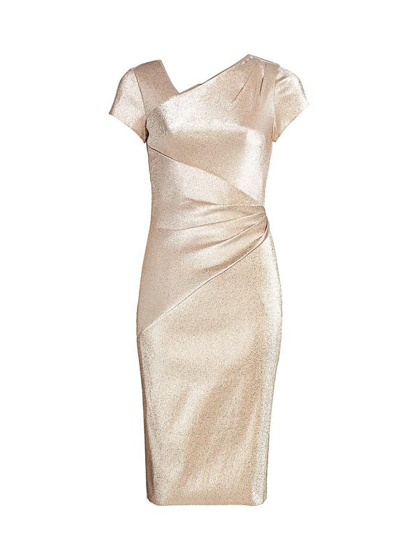 Theia Women's Asymmetric Draped Metallic Dress In Champagne