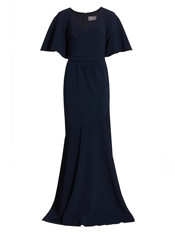 Theia Women's Wrap-front V-neck Gown In Navy