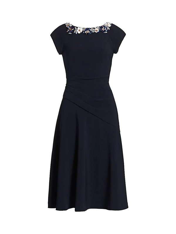 Theia Women's Crepe Boatneck A-line Dress In Navy