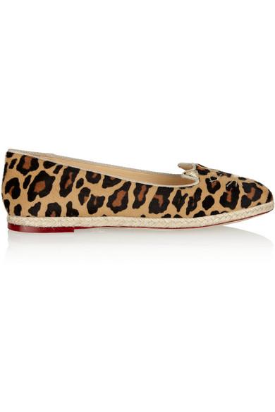 Charlotte Olympia Capri Cats Leopard-Print Calf Hair Espadrille Flats In Animal Print
