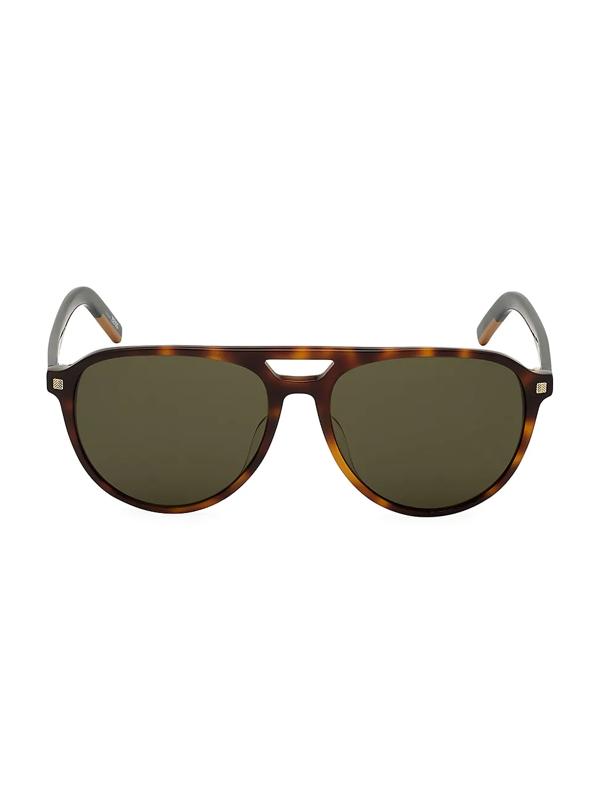 Zegna Men's 57mm Round Havana Aviator Sunglasses In Dark Havana