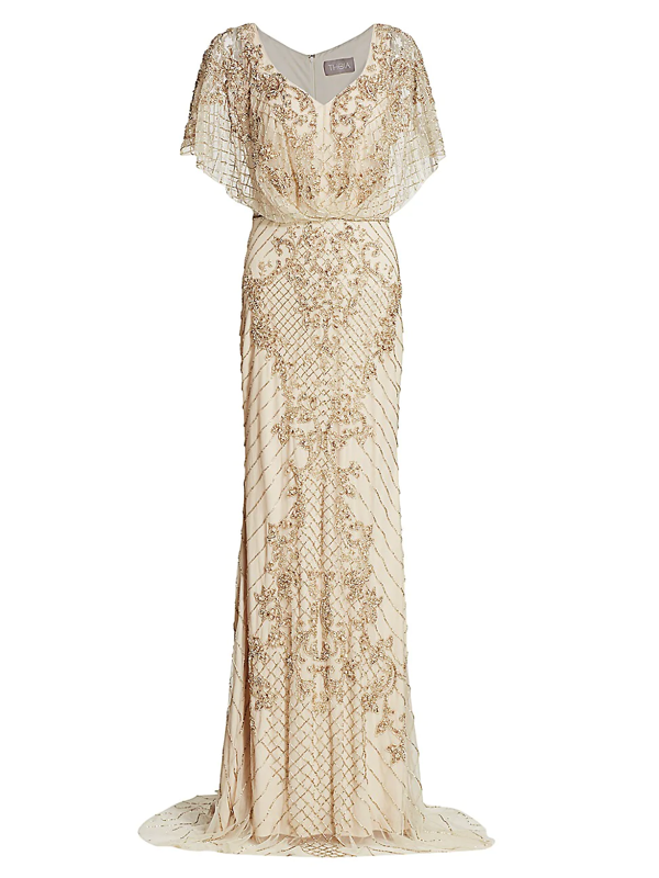 Theia Women's Bejeweled Cape Column Gown In Champagne