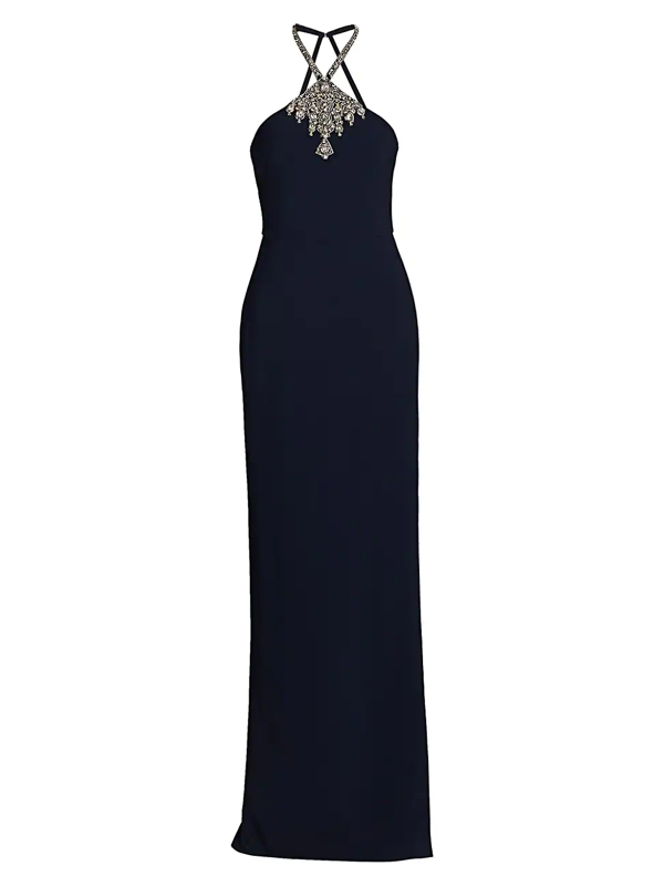 Theia Women's Embellished Halter Crepe Column Gown In Midnight