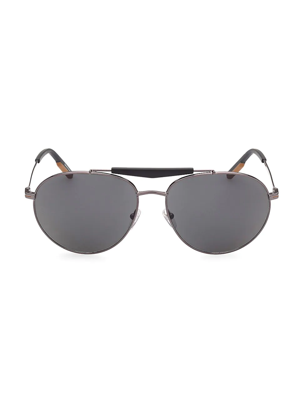 Zegna Men's 61mm Metal Round Sunglasses In Shiny Gunmetal Smoke