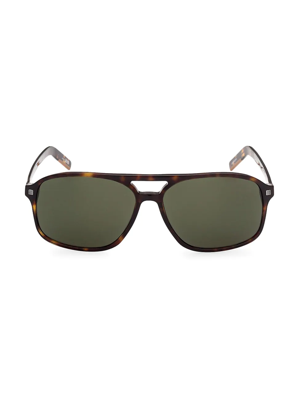 Zegna Men's 60mm Plastic Square Sunglasses In Havana Other Green