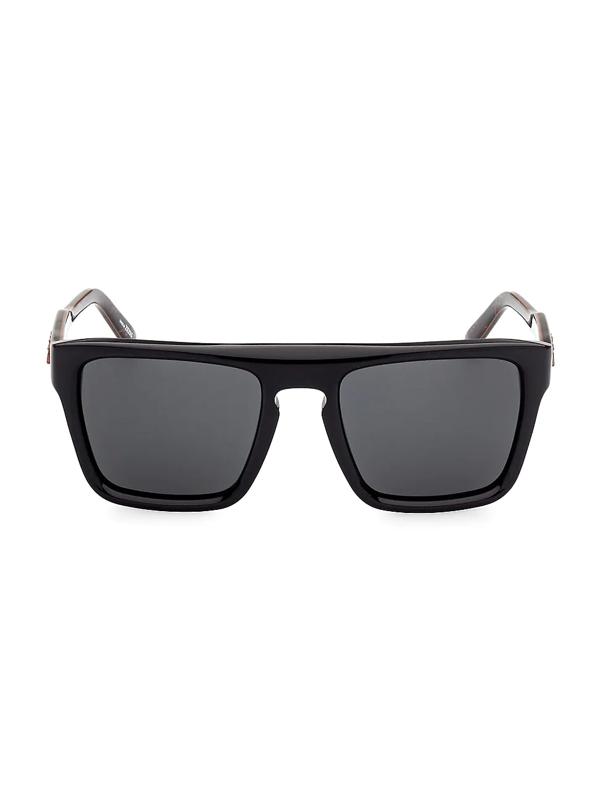 Zegna Men's 55mm Plastic Square Sunglasses In Shiny Black Smoke