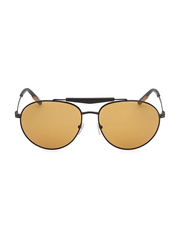 Zegna Men's 61mm Metal Round Sunglasses In Matte Black Brown