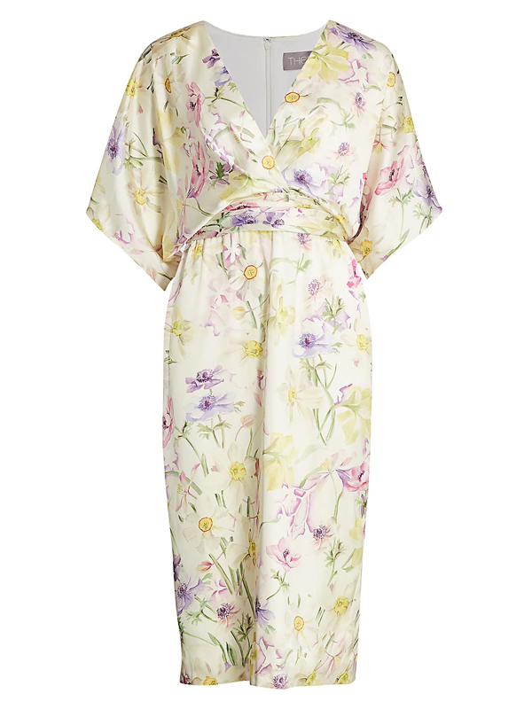 Theia Women's Floral Charmeuse Cocktail Dress In Rose Multi