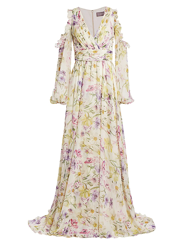 Theia Women's Floral Cold-shoulder Chiffon Gown In Rose Multi