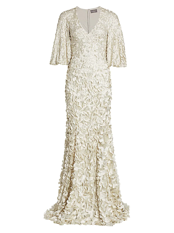 Theia Women's Floral Embroidered Petal Gown In Silver Birch