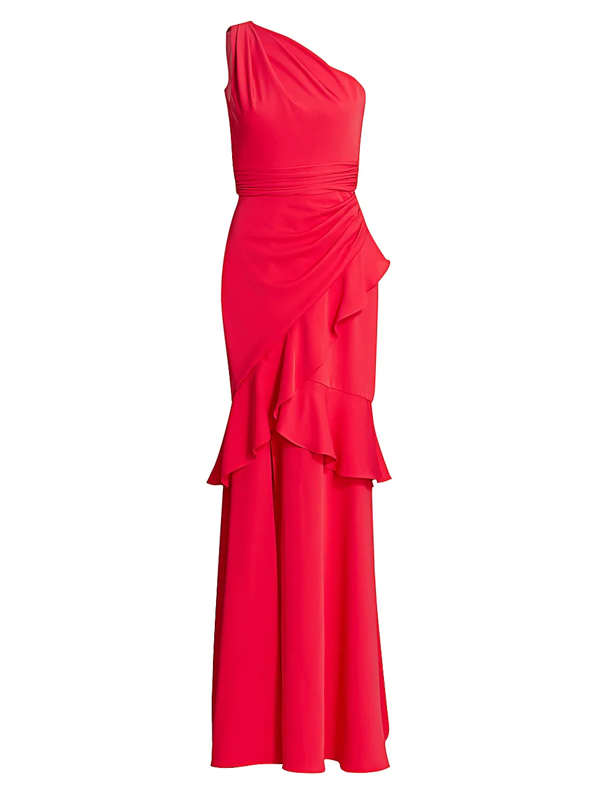 Theia Women's Crepe One-shoulder Gown In Cherry