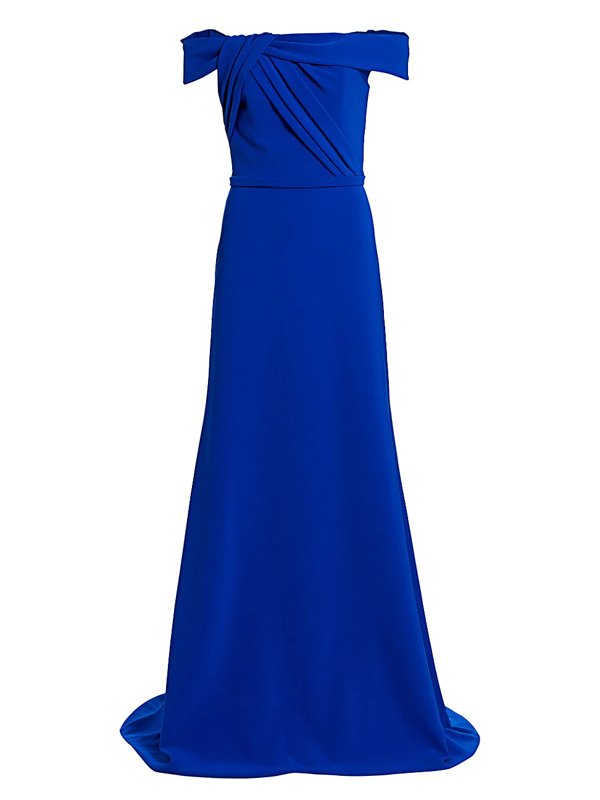 Theia Women's Crepe Off-the-shoulder Gown In Royal