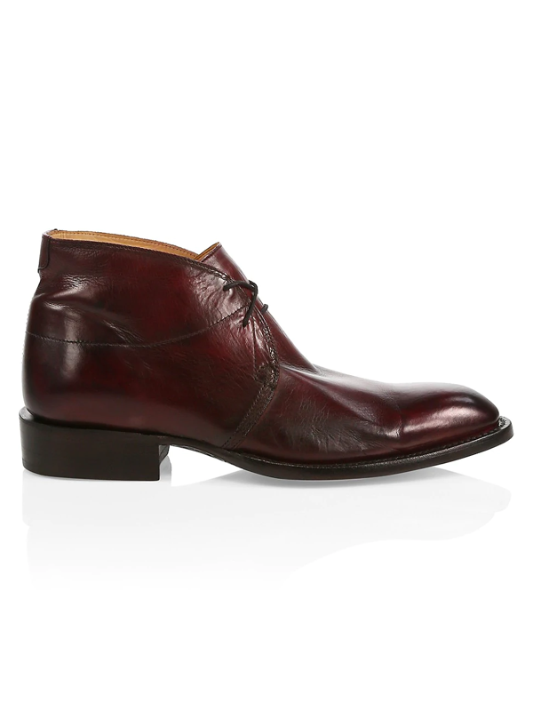 Lucchese Men's Evan Leather Chukka Boots In Black Cherry