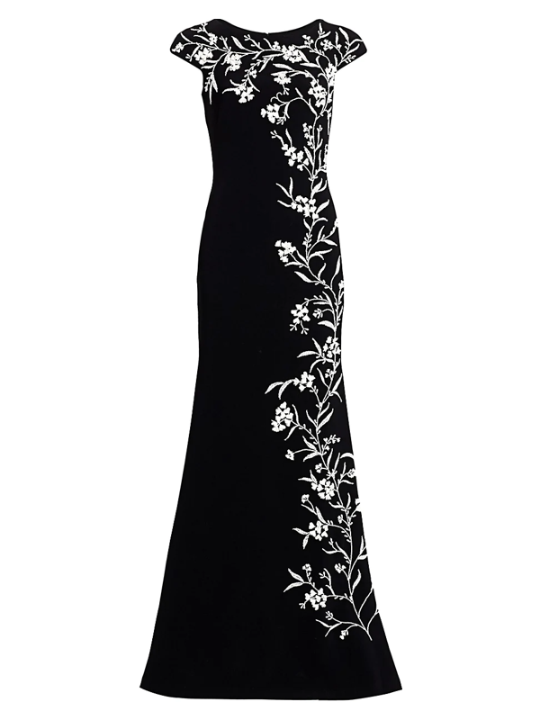Theia Women's Beaded Vine Crepe Gown In Black White