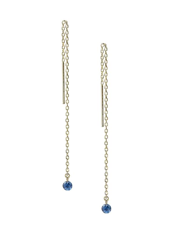 Ila Women's Bombshell 14k Yellow Gold & Sapphire Chain Drop Threader Earrings