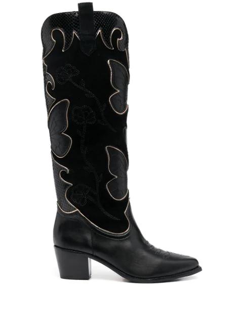 Sophia Webster Women's Shelby Butterfly Knee-high Leather Cowboy Boots In Black