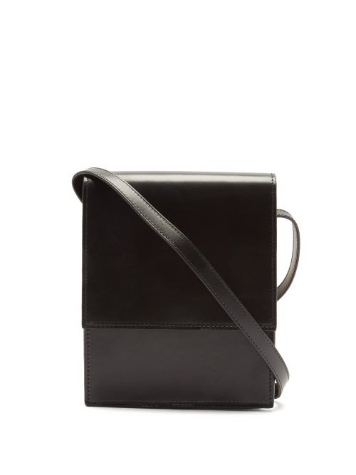 Lemaire Satchel Small Leather Cross-body Bag In Black