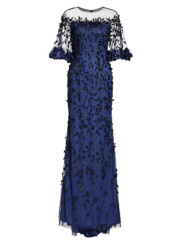 Theia Women's Off-the-shouler Embroidered Crystal 3d Leaves Gown In Indigo