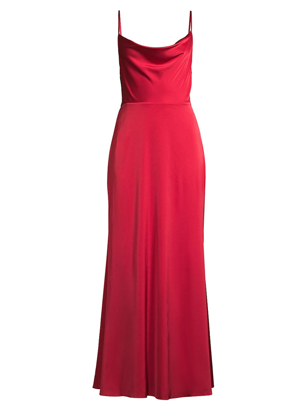 Fame And Partners The Robbie Satin Gown In Cherry Red